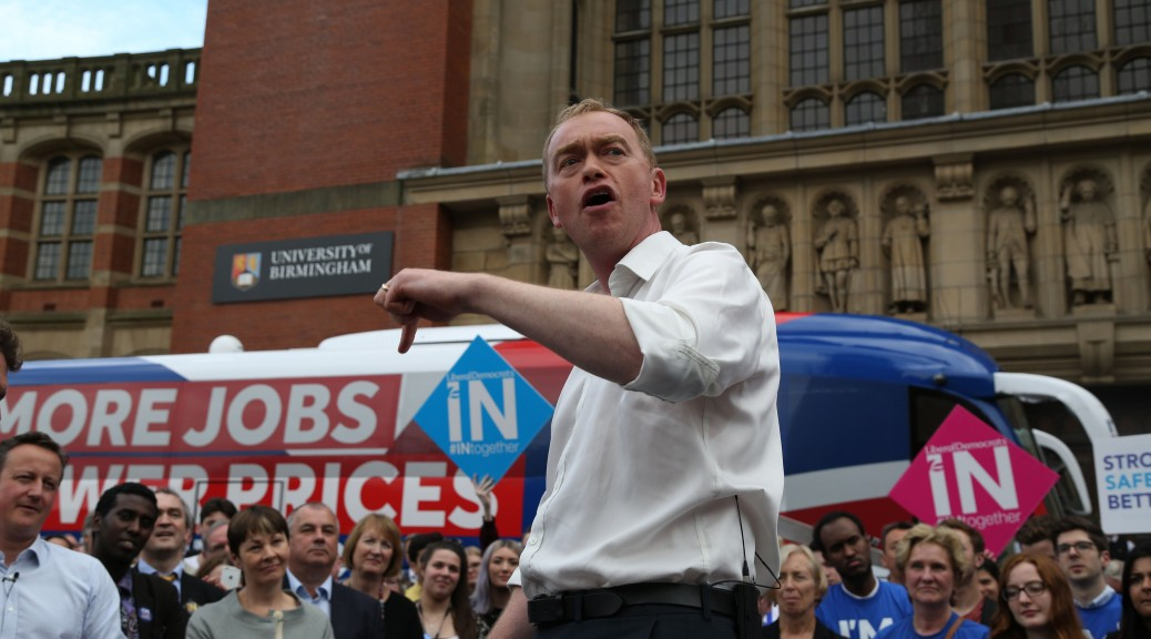 Britain's Liberal Democrats Party leader Tim Farron delivers a speech in a Britain Stronger In Europe rally event campaigning for people to vote to remain in the EU in Birmingham, central England, on June 22, 2016. Wednesday is the last day of campaigning for Britain's referendum on whether or not to stay in the EU, a momentous decision with far-reaching implications for Britain and Europe. / AFP PHOTO / POOL / Geoff CADDICKGEOFF CADDICK/AFP/Getty Images