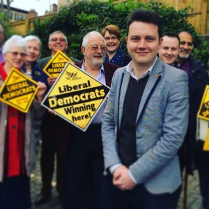 An image showing the 2017 parliamentary candidate for Normanton, Pontefract and Castleford, Clarke Roberts, in front of Liberal Democrat supporters
